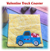 In The Hoop Valentine Truck Coaster Embroidery Machine Design