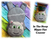 In The Hoop Hippo Flat Coaster Embroidery Machine Design