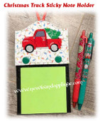 In The Hoop Christmas Truck Sticky Note Holder Embroidery Machine Design