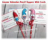 In The Hoop Gnome Valentine Pencil Topper Embroidery Machine Design Set