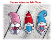 In The Hoop Gnome Valentine Felt Pieces Embroidery Machine Design Set