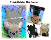 In The Hoop French Bulldog Flat Coaster Embroidery Machine Design