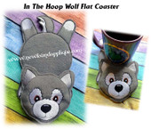 In The Hoop Wolf Flat Coaster Embroidery Machine Design