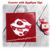 In the Hoop Coaster With Lip Applique Embroidery Machine Design