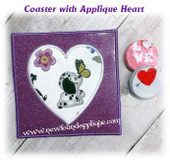 In The Hoop Coaster With Heart Applique Embroidery Machine Design