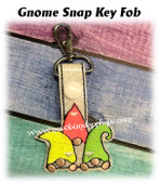 In The Hoop Gnome Snap Key Fob Embroidery Machine Design
