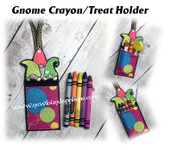 In The Hoop Gnome Crayon/Treat Holder Embroidery Machine Design