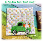 In The Hoop Easter Truck Coaster Embroidery Machine Design