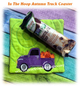 In The Hoop Autumn Truck Coaster Embroidery Machine Design