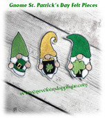In The Hoop Gnome St. Patrick's Day Felt Pieces Embroidery Machine Design Set