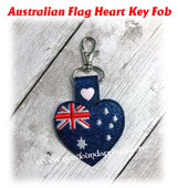 In The Hoop Australian Flag Heart Key Fob Embroidery Machine Design