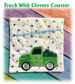 In The Hoop Truck With Clovers Coaster Embroidery Machine Design