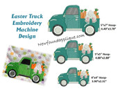 Easter Truck Embroidery Machine Design