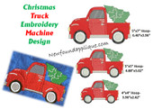Christmas Truck Embroidery Machine Design With Tree