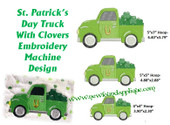 Truck With Clovers Embroidery Machine Design
