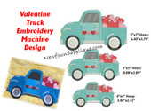 Valentine Truck Embroidery Machine Design