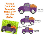 Autumn Truck Embroidery Machine Design
