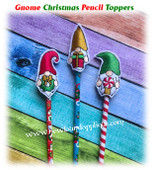 In the Hoop Gnome Christmas Pencil Topper Embroidery Machine Design Set