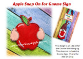In The Hoop Apple Snap On Embroidery Machine Design For Gnome Sign