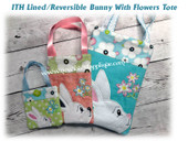 In The Hoop Bunny With Flowers Lined Tote Bag Embroidery Machine Design