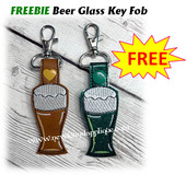 In The Hoop Beer Glass Key Fob Embroidery Machine Design FREEBIE