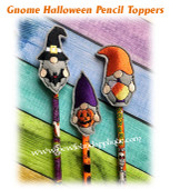 In The Hoop Gnome Halloween Pencil Topper Embroidery Machine Design set
