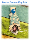 In The Hoop Easter Gnome Key Fob Embroidery Machine Design