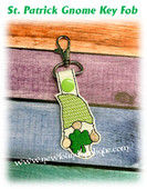 In The Hoop St Patrick Gnome Key Fob Embroidery Machine Design