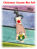 In The Hoop Christmas Gnome Key Fob Embroidery Machine Design