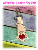 In The Hoop Valentine Gnome Key Fob Embroidery Machine Design