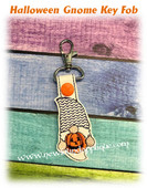 In The Hoop Halloween Gnome Key Fob Embroidery Machine Design