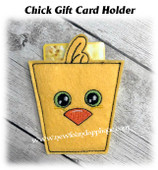 In The Hoop Chick Gift Card Holder Embroidery Machine Design