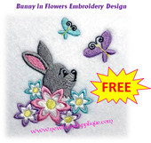 Bunny In Flowers Embroidery Machine Design