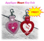 In The Hoop Applique Heart Key Fob Embroidery Machine Design