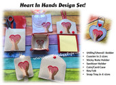 In The Hoop Heart In Hands Office Embroidery Machine Design Set