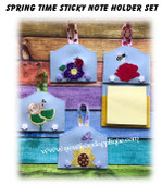 In The Hoop Springtime Sticky Note Holder Embroidery Machine design Set