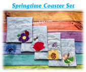 In The Hoop Springtime Coaster Embroidery Machine Design set