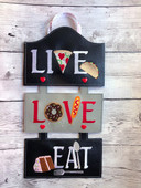 In The Hoop LIVE LOVE EAT Wall Hanging Embroidery Machine Design