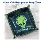 In The Hoop Alien w Headphones Snap Tray Embroidery Design Set