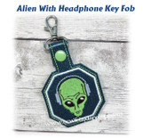 In The Hoop Alien with Headphones Key Fob Embroidery Machine Design