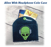 In The Hoop Alien w Headphones Coin Card Case Embroidery Machine Design