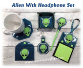 In The Hoop Alien with Headphones Embroidery Machine Design set