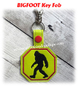 In The Hoop Big Foot Key Fob Embroidery Machine Design