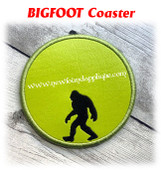 In The Hoop Bigfoot Coaster Embroidery Machine Design