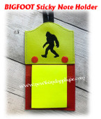 In The Hoop Bigfoot Sticky Note Holder Embroidery Machine Design