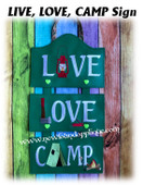 In The Hoop LIVE LOVE CAMP Wall Hanging Embroidery Machine Design