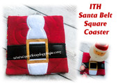 In The Hoop Santa Belt Square Coaster Embroidery Machine Design