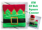 In The Hoop Elf Belt Square Coaster Embroidery Machine Design