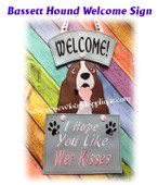 In The Hoop Basset Hound Wet Kissed Sign Embroidery Machine Design