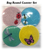 In The Hoop Bug Coaster Embroidery Machine Design Set